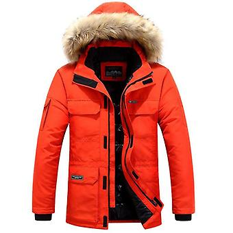 Winter Jackets Men Fur Warm Thick Cotton Multi-pocket Hooded Parkas Casual