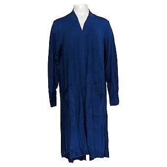 H par Halston Women's Sweater Open Hi-Low Duster Cardigan Blue A310421