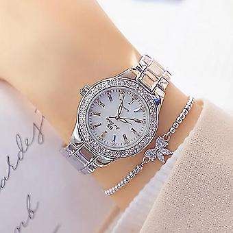 Orologi di diamante in cristallo da donna, orologio in argento in acciaio inossidabile, Montre Femme