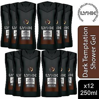 12 Pack Lynx Total Relax Douche Gel Body Wash, Dark Temptation, 250ml