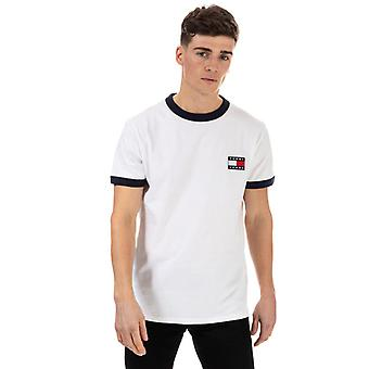 Men's Tommy Hilfiger Branded Ringer T-Shirt in White