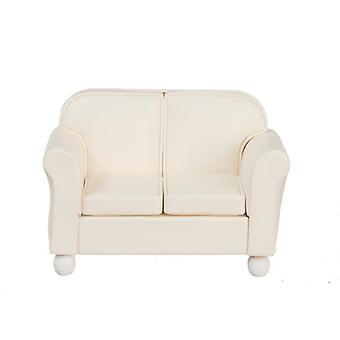 Dockor Hus Miniatyr Vardagsrum Möbler Grädde Läder 2 Sits soffa
