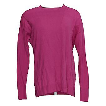 Isaac Mizrahi Live! Women's Sweater (XXS) Crew-Neck Pink A384076