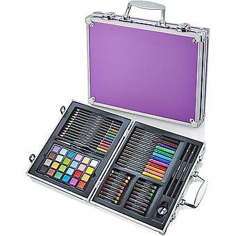Artworx 70 estúdio de arte de peças com caixa de alumínio roxo - conjunto de colorir crianças - lápis de lápis infantil crayo