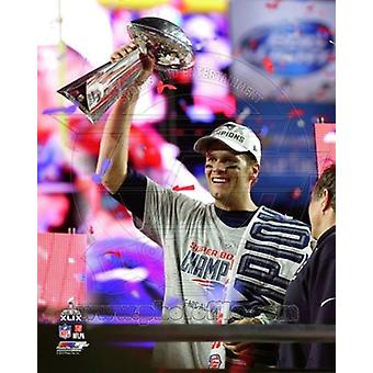 Tom Brady with the Vince Lombardi Trophy Super Bowl XLIX Sports Photo