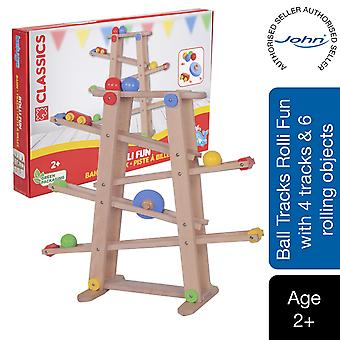 Beluga Classics Wooden Marble Run Fun Set with 4 lanes and 6 Object