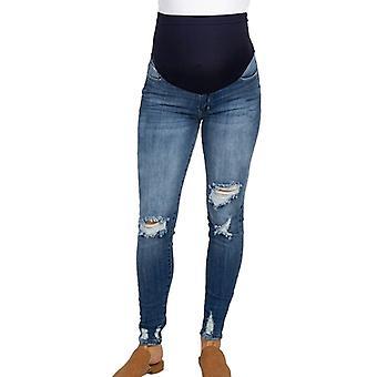 Mutterschaft Frau zerrissen Jeans, schwangere Hose, Hose Pflege Prop Bauch,