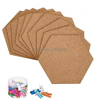 Self-adhesive Cork Office Home Wood Photo Background Hexagon Stickers Wall