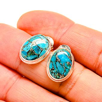 "Blue Copper Composite Turquoise Earrings 3/4"" (925 Sterling Silver)  - Handmade Boho Vintage Jewelry EARR411083"