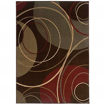 3'x4' Brown and Red Abstract Indoor Jute Area Rug
