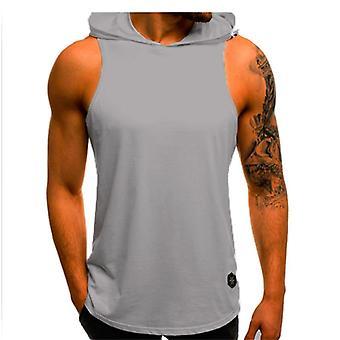 Hombres sudaderas sin mangas camiseta sin mangas gimnasio deportivo chaleco delgado, culturismo