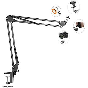 Overhead Tripod Mount For Camera Webcam Ring Light, Flexible Over Head Arm