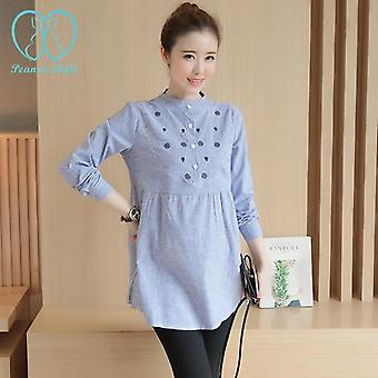 Waist Pleated Embroidered Cotton Maternity Shirt Blouse Tops For Pregnant Women