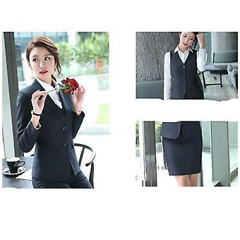 Sonbahar Yeni Temperament Çizgili Üç Parçalı Takım Elbise