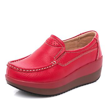 Red Platform Loafers Genuine Leather Comfort Soft Moccasin