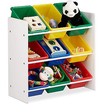 Relaxdays, buntes Kinderregal mit Regalboxen, Aufbewahrungsregal, Spielzeugregal, MDF+Kunststoff,