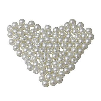 100Pieces 8mm Dia Plastic Pearl Buttons for Shirts Cardigan Decoration