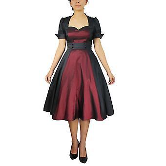 שיק כוכב ניגודיות נדנדה שמלה בשחור / בורגונדי