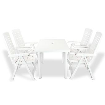 vidaXL 5-tlg. Groupe de jardin en plastique blanc