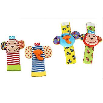 4pcs Monkey Elephant Wrist Rattle And Foot Finder Set With Sound Paper For Early Education