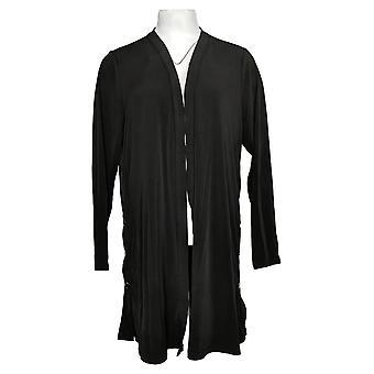 Susan Graver Women's Sweater Liquid Knit Duster w/ Snap Detail Black