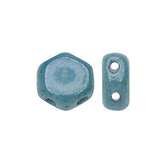 Czech Glass Honeycomb Beads, 2-Hole Hexagon 6mm, 30 Pieces, Blue Luster