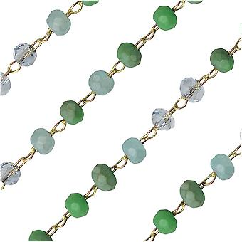 Zola Elements Beaded Chain, Gold Tone/Beach Mix Faceted Rondelles, 2x3mm, by the Foot