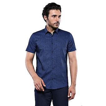 Navy blue patterned short sleeve shirt   wessi