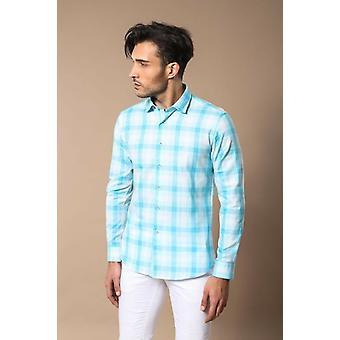 Slim fit plaid patterned ice blue shirt
