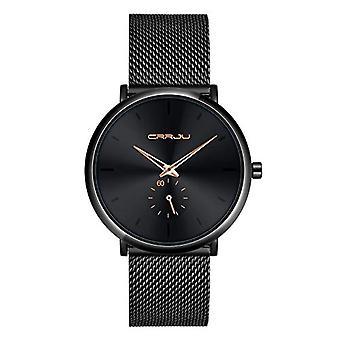 SUPBRO Ultra thin black men's watches in minimalist quartz fashion with black mesh strap(1)
