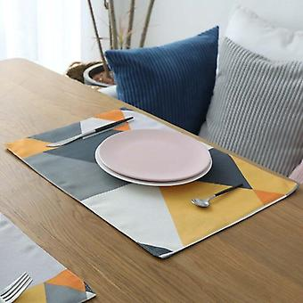 4pc Triangles Placemat Dining Table Coaster Cloth Insulation Coffee Cup Pad Kitchen Mantel(yellow)