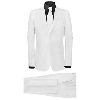 vidaXL 2 kpl. Miesten puku solmio valkoinen koko 48