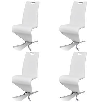 vidaXL sillas de comedor 4 piezas de cuero blanco