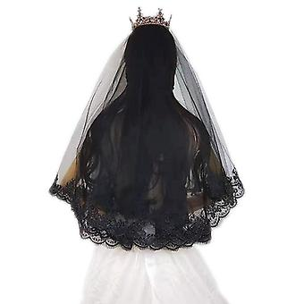 Schöne schwarze elegante Spitze Braut Hochzeitsschleier