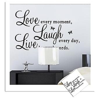 Regenboghorn Love Every Moment Laugh Every Day Live Beyond Words Wall Decal Sticker ZY1002