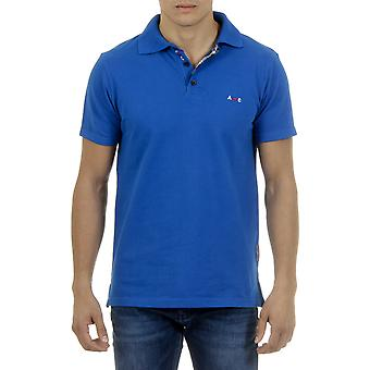 Andrew Charles Men Polo Neck Collar Contrast Slim Fit Blue