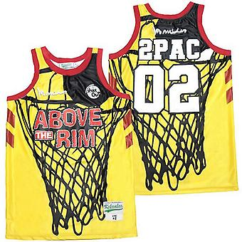 Men's Above The Rim 02pac Basketball Jersey S-xxl,fashion 90s Hip Hop Clothing For Party, Stitched Letters And Numbers