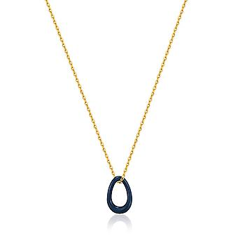 Ania Haie Navy Blue Enamel Gold Twisted Pendant Necklace N031-02G-B