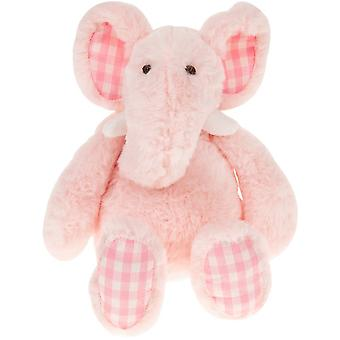 LAST FEW - Elephant Soft Toy with Gingham Check Fabric Ears and Feet - Pink - Gift Item
