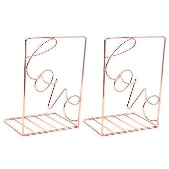 2Pcs/Pair Metal 2c olors Creative Love Shaped Metal Bookends Desk Storage Holder Shelf Book