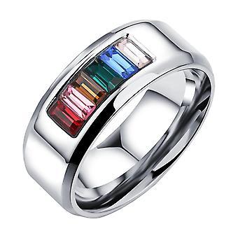 (Amerikaanse maat 8)  Homo 's Lesbische LGBT Pride roestvrij staal regenboog ring zilveren band