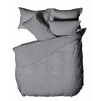 The Linen Yard Herringbone Stripe Duvet Cover Set