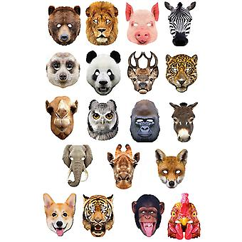 Animals 2D Card Party Fancy Dress Masks Variety 19 Pack