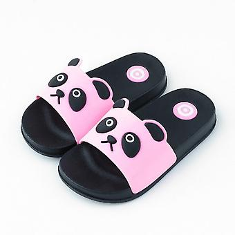 Suitable For Medium And Large Childrens Slippers, Cute Bear, Indoor Soft-bottom Bathroom Bath, Non-slip Pink (a)