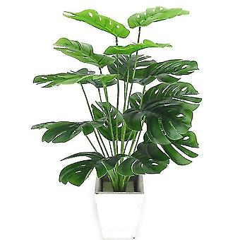 Artificial flora 18 leaves artificial green plants for home decor 18 leaves white flakes