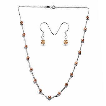 J Francis Perle string, dingle smykker Sæt 18 '' Pearl Crystal Silver