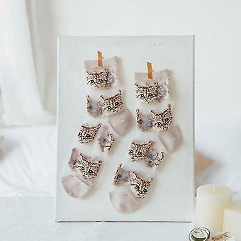 Womens novelty harajuku crystal silk tide socks for summer with patterns(White Cats)