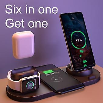 6in1ワイヤレス充電器ドックステーション10w気気誘導高速磁気充電ホルダーマイクロUSBタイプは、携帯電話アクセサリー