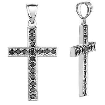Black Diamond Cross Pendant, 0.90 Carats, 14K White Gold