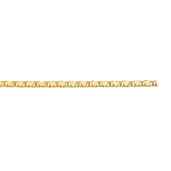 14k Yellow Gold 2.9mm Sparkle-Cut Heart Chain With Lobster Clasp Bracelet - 2.3 Grams - 5.5 Inch